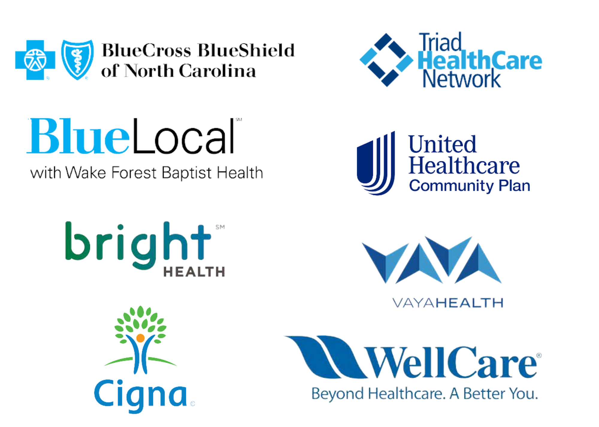 BlueCross BlueShield of North Carolina, Triad Healthcare Network, BlueLocal with Wake Forest Baptist Health, United Healthcare, Cigna and other insurance logos